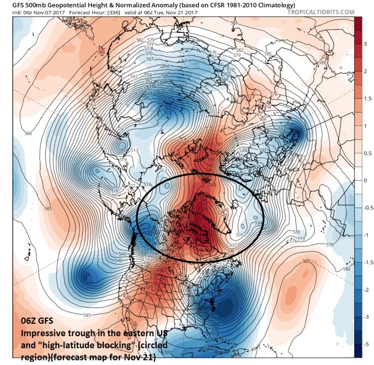 06Z GFS forecast of 500 mb height anomalies for November 21 featuring impressive high-latitude blocking (circled region); courtesy tropicaltidbits.com, NOAA/EMC